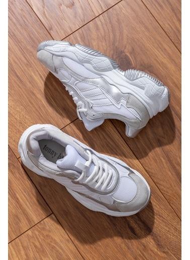 Tonny Black Beyaz Gri Bayan Spor Ayakkabı Tb246  Beyaz